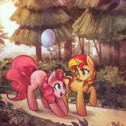 Size: 3213x3213   Tagged: safe, artist:mirroredsea, pinkie pie, sunset shimmer, earth pony, pony, unicorn, balloon, bent over, cute, cutie mark, diapinkes, duo, eye contact, female, forest, looking at each other, mare, nature, open mouth, raised hoof, scenery, shimmerbetes, smiling, tree