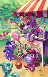 Size: 1378x2205   Tagged: safe, artist:holivi, daisy, flower wishes, lyra heartstrings, roseluck, oc, oc:bender watt, oc:holivi, alicorn, earth pony, pegasus, pony, unicorn, alicorn oc, ball, clothes, colt, cotton candy, cute, eating, female, filly, floppy ears, food, grass, holiwatt, magic, male, mare, open mouth, shipping, signature, sitting, smiling, stallion, straight, telekinesis, tongue out, tree