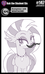 Size: 800x1323 | Tagged: artist:sintakhra, classical hippogriff, facial hair, fake moustache, hippogriff, jewelry, moustache, necklace, safe, silverstream, solo, stair keychain, tumblr:studentsix
