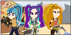Size: 2725x1357 | Tagged: adagio dazzle, aria blaze, artist:anime-equestria, borderlands, borderlands 2, clothes, desert, equestria girls, eyeshadow, frown, grass, group, gun, handgun, human, human coloration, humanized, leg strap, makeup, mountain, pigtails, ponytail, pouch, revolver, rock, safe, sign, siren (borderlands), skirt, smiling, sonata dusk, tattoo, the dazzlings, twintails, vest, weapon