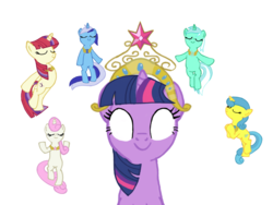 Size: 1024x768 | Tagged: safe, artist:turnaboutart, lemon hearts, lyra heartstrings, minuette, moondancer, twilight sparkle, twinkleshine, pony, alternate universe, base used, big crown thingy, canterlot six, element of generosity, element of honesty, element of kindness, element of laughter, element of loyalty, element of magic, elements of harmony, jewelry, regalia, the elements in action