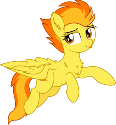 Size: 6250x6748 | Tagged: safe, artist:aureai-sketches, artist:cyanlightning, spitfire, pegasus, pony, .svg available, :p, absurd resolution, chest fluff, cute, cutefire, ear fluff, female, flying, lidded eyes, mare, silly, simple background, smiling, tongue out, transparent background, vector