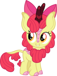 Size: 895x1200 | Tagged: safe, artist:cloudyglow, apple bloom, kirin, adorabloom, bow, cloven hooves, colored hooves, cute, female, hair bow, kirin-ified, simple background, smiling, solo, species swap, transparent background, vector
