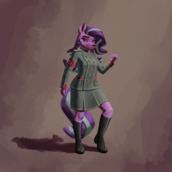 Size: 1280x1280   Tagged: safe, artist:alicornified, starlight glimmer, wolf, anthro, boots, clothes, communism, female, full body, hammer and sickle, looking at you, multiple variants, shoes, simple background, skirt, solo, species swap, stalin glimmer, uniform, wolfified