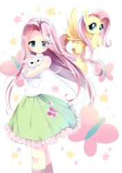 Size: 992x1403 | Tagged: angel bunny, anime, artist:スピカ, blushing, butterfly, clothes, cute, equestria girls, female, fluttershy, human, humanized, looking at you, mare, moe, pegasus, pony, rabbit, safe, self ponidox, shirt, shyabetes, skirt, smiling, socks, stars