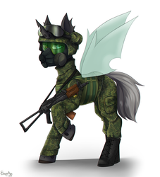 Size: 2000x2200 | Tagged: aks-74u, army, artist:serodart, body armor, boots, camouflage, changeling, changeling oc, clothes, commission, gas mask, goggles, gun, handgun, helmet, heterochromia, looking at you, male, mask, oc, pistol, pony, russia, safe, shoes, simple background, soldier, solo, uniform, weapon, white background