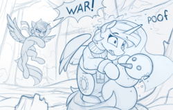 Size: 2100x1332 | Tagged: alicorn, artist:yakovlev-vad, clothes, cute, dialogue, duo, lineart, monochrome, pony, princess celestia, princess luna, safe, scarf, sketch, snow, snowball fight, snowman, speech bubble, sweat, this will end in banishment, this will end in tears and/or a journey to the moon