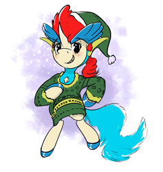 Size: 2382x2517 | Tagged: artist:f1r3w0rks, christmas, christmas sweater, clothes, colored hooves, elf ears, holiday, keldeo, pokémon, ponified, pony, safe, solo, sweater