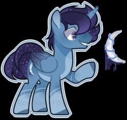Size: 1768x1672 | Tagged: safe, artist:jxst-alexa, oc, alicorn, pony, alicorn oc, crescent moon, ethereal mane, magical lesbian spawn, male, moon, offspring, parent:princess luna, parent:rainbow dash, parents:lunadash, raised hoof, simple background, solo, stallion, starry mane, transparent background