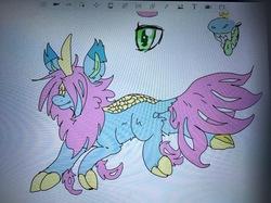 Size: 2058x1536   Tagged: safe, artist:chibichangeling, oc, oc only, oc:pastel, kirin, cloven hooves, doodle, female, kirin oc