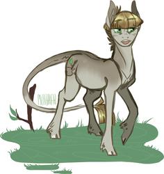 Size: 700x740 | Tagged: safe, artist:eqq_scremble, mudbriar, earth pony, pony, unicorn, eqqverse, alternate design, broken horn, cloven hooves, headcanon, horn, hornless unicorn, leonine tail, male, scar, simple background, solo, stallion
