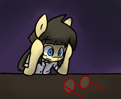 Size: 988x808 | Tagged: artist:spheedc, clothes, digital art, earth pony, existential crisis, female, filly, glasses, gradient background, mare, oc, oc only, oc:sphee, pigtails, pony, safe, solo, table