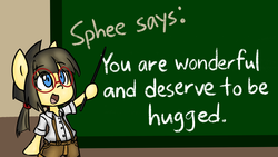 Size: 2732x1536 | Tagged: artist:spheedc, bipedal, chalkboard, clothes, digital art, earth pony, female, filly, glasses, mare, motivational, oc, oc:sphee, pigtails, safe, semi-anthro, solo, teacher, teaching