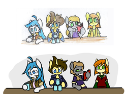 Size: 1329x990   Tagged: safe, artist:spheedc, oc, oc only, oc:dream chaser, oc:light chaser, oc:scarlet sky, oc:sweet corn, earth pony, pegasus, unicorn, semi-anthro, bipedal, clothes, comparison, cup, digital art, draw this again, drink, drinking, female, male, mare, reading, redraw, simple background, solo, stallion, table, traditional art, white background
