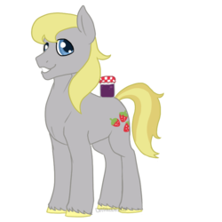 Size: 700x700 | Tagged: safe, artist:darkodraco, hugh jelly, earth pony, pony, food, jar, jelly, looking at you, male, simple background, smiling, solo, stallion, transparent background, unshorn fetlocks