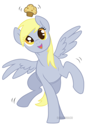 Size: 1280x1758 | Tagged: safe, artist:darkodraco, derpy hooves, pegasus, pony, female, food, looking at you, mare, muffin, open mouth, raised hoof, simple background, smiling, solo, transparent background