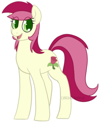 Size: 823x1000 | Tagged: safe, artist:darkodraco, roseluck, earth pony, pony, female, looking at you, mare, open mouth, simple background, smiling, solo, transparent background