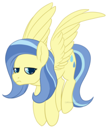 Size: 1172x1387 | Tagged: safe, artist:darkodraco, sunshower, pegasus, pony, female, flying, mare, simple background, solo, spread wings, transparent background, unamused, wings