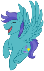 Size: 625x1000 | Tagged: artist:darkodraco, eyes closed, flying, laughing, male, open mouth, open skies, pegasus, pony, safe, simple background, smiling, solo, spread wings, stallion, transparent background, underhoof, wings