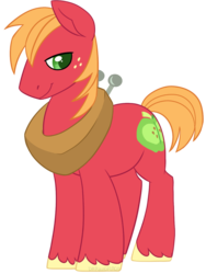 Size: 752x1000 | Tagged: artist:darkodraco, big macintosh, earth pony, freckles, lidded eyes, male, pony, safe, simple background, smiling, solo, stallion, transparent background, unshorn fetlocks