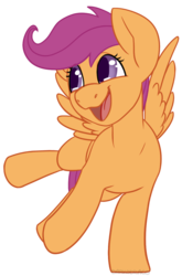 Size: 660x1000 | Tagged: artist:darkodraco, cute, cutealoo, female, filly, open mouth, pegasus, pony, raised hoof, safe, scootaloo, simple background, smiling, solo, spread wings, transparent background, wings