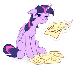 Size: 1011x890 | Tagged: safe, artist:luciferamon, twilight sparkle, alicorn, pony, 42, bags under eyes, female, floppy ears, hitchhiker's guide to the galaxy, magic, mare, paper, quill, simple background, sitting, sleepy, solo, telekinesis, tired, twilight sparkle (alicorn), white background, writing