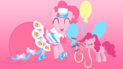 Size: 1920x1080 | Tagged: artist:felix-kot, artist:gurugrendo, artist:ikillyou121, artist:popmannn, clothes, confetti, cutie mark, dress, edit, gala dress, pinkie pie, pony, safe, sneezing, vector, wallpaper, wallpaper edit
