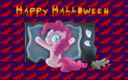 Size: 2560x1600 | Tagged: artist:alicehumansacrifice0, artist:felix-kot, edit, halloween, happy halloween, holiday, pinkie pie, pony, safe, spike plushie, television, text, vector, wallpaper, wallpaper edit
