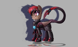 Size: 2800x1700 | Tagged: armor, artist:elmutanto, fallout equestria, fanfic:fallout equestria: broken oaths, gray background, oc, oc only, oc:redwood, pony, safe, scorpion tail, simple background