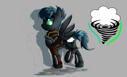 Size: 2800x1700 | Tagged: armor, artist:elmutanto, clothes, fallout equestria, fanfic:fallout equestria: broken oaths, gray background, male, oc, oc:fantastic storm, oc only, pegasus, pony, raised hoof, reference sheet, safe, simple background, solo, spread wings, stallion, wings