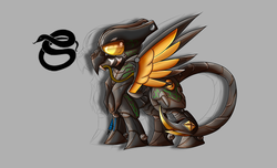 Size: 2800x1700 | Tagged: safe, artist:elmutanto, oc, oc only, oc:viper, pegasus, pony, fallout equestria, fanfic:fallout equestria: broken oaths, armor, enclave, enclave armor, gray background, helmet, power armor, reference sheet, scorpion tail, simple background, solo, spread wings, terminator, wings