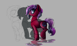 Size: 2800x1700 | Tagged: safe, artist:elmutanto, oc, oc only, oc:vlyka, pony, robot, robot pony, fallout equestria, fanfic:fallout equestria: broken oaths, cutie mark, fangs, female, gray background, mare, raised hoof, simple background, solo