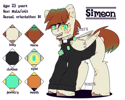 Size: 2500x2000 | Tagged: safe, artist:etoz, oc, oc only, oc:simeon, pegasus, pony, clothes, eyebrow piercing, eyebrows, fangs, jewelry, male, open mouth, piercing, reference sheet, religion, scar, solo, stallion, tongue piercing