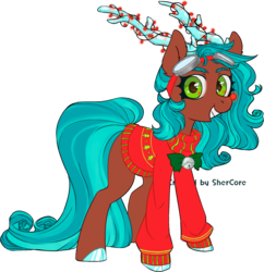 Size: 4462x4616 | Tagged: safe, artist:shercore, oc, deer, deer pony, original species, pony, reindeer, absurd resolution, adoptable, antlers, bell, blue hair, brown fur, christmas, christmas lights, christmas sweater, clothes, cloven hooves, curly hair, cute, eyebrows, female, goggles, green eyes, holiday, long tail, red nose, red nosed reindeer, simple background, smiling, solo, sweater, transparent background