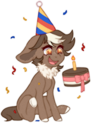 Size: 1048x1408 | Tagged: safe, artist:dusty-onyx, oc, oc:choco mocca, earth pony, pony, cake, female, food, hat, mare, party hat, simple background, solo, transparent background