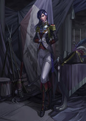 Size: 2059x2912   Tagged: dead source, safe, artist:sunset tide, princess luna, human, bayonet, beautiful, bicorne, boots, clothes, cosplay, costume, cute, epaulettes, female, fine art emulation, gloves, gorget, green eyes, gun, hat, humanized, lipstick, looking at you, musket, napoleon bonaparte, painterly, painting, pants, purple lipstick, rebel, saber, shoes, smiling, smirk, solo, sword, technically advanced, uniform, weapon, woman