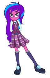 Size: 2705x4193 | Tagged: safe, artist:baby, artist:kaguraria, derpibooru exclusive, oc, oc only, oc:melody aurora, equestria girls, base used, clothes, crystal prep academy, crystal prep academy uniform, female, glasses, offspring, parent:flash sentry, parent:sci-twi, parent:twilight sparkle, parents:flashlight, school uniform, solo