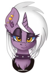 Size: 1232x1800 | Tagged: artist:ciderpunk, bust, ear piercing, earring, jewelry, looking at you, oc, oc:amber ironheart, oc only, piercing, pony, safe, simple background, transparent background