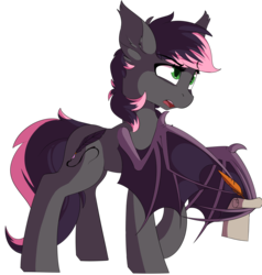 Size: 3464x3640 | Tagged: artist:beardie, bat pony, bat pony oc, notepad, oc, oc only, oc:quill, pony, quill, safe, simple background, transparent background, wing hands
