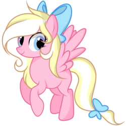 Size: 2000x2000   Tagged: safe, artist:takan0, oc, oc only, oc:bay breeze, pegasus, pony, bow, cute, female, hair bow, mare, missing cutie mark, simple background, tail bow, transparent background