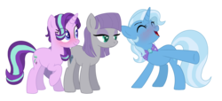 Size: 4560x2080 | Tagged: safe, artist:thepegasisterpony, maud pie, starlight glimmer, trixie, pony, female, lesbian, mauxie, polyamory, shipping, starmaud, starmauxie, startrix, wrong cutie mark