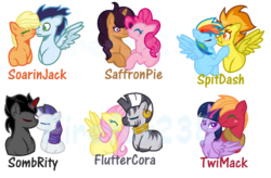 Size: 1124x736 | Tagged: safe, artist:firefox238, applejack, big macintosh, fluttershy, king sombra, pinkie pie, rainbow dash, rarity, saffron masala, soarin', spitfire, twilight sparkle, zecora, alicorn, crack shipping, female, fluttercora, lesbian, male, saffronpie, shipping, simple background, soarinjack, sombrarity, spitdash, straight, transparent background, twilight sparkle (alicorn), twimac