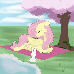Size: 1500x1500 | Tagged: safe, artist:royalwolf1111, angel bunny, fluttershy, pegasus, pony, cherry tree, cute, duo, eyes closed, female, folded wings, head turn, hooves tucked in, lying down, mare, moss, outdoors, pond, prone, tree, under the tree, wings