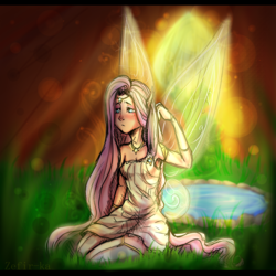 Size: 2400x2400 | Tagged: armpits, artist:zefirka, clothes, elf ears, fairy, female, fluttershy, grass, human, humanized, kneeling, safe, solo, winged humanization, wings