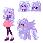 Size: 1424x1422 | Tagged: safe, artist:unoriginai, oc, oc only, oc:stardust glitter, pegasus, pony, equestria girls, female, glasses, magical lesbian spawn, mare, offspring, parent:sci-twi, parent:sugarcoat, parents:sugartwi, shrug, simple background, transparent background