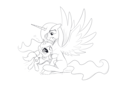 Size: 1246x861 | Tagged: alicorn, artificial alicorn, artist:brisineo, clothes, cutie mark, fallout equestria, fanfic, fanfic art, female, filly, foal, grin, gritted teeth, hape, heart, hooves, horn, hug, mare, monochrome, oc, oc:littlepip, oc only, one eye closed, pipbuck, pony, safe, scared, simple background, sketch, smiling, spread wings, tackle, unicorn, vault suit, white background, wings, younger