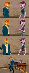 Size: 1729x4320 | Tagged: safe, artist:papadragon69, starlight glimmer, sunburst, anthro, 3d, cart, clothes, comic, old master q, parody, rickshaw, source filmmaker, that pony sure does love antiques, the simpsons
