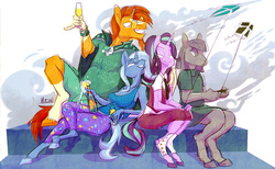 Size: 1280x787 | Tagged: safe, artist:ursa, maud pie, starlight glimmer, sunburst, trixie, earth pony, unicorn, anthro, unguligrade anthro, alcohol, champagne, female, glass, glasses, kite, looking at each other, male, sitting, smiling, wine, wine glass