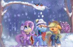 Size: 780x512 | Tagged: applejack, artist:sketchy-the-pony, bird, clothes, earmuffs, floppy ears, fluttershy, forest, laughing, rainbow dash, robin, safe, scarf, snow, snow cap, snowfall, sweater, tongue out, tree, tree branch, winter, winter outfit