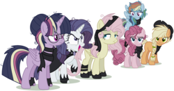 Size: 1280x670 | Tagged: alicorn, alternate design, alternate hairstyle, artist:bezziie, bandana, cape, clone, clone six, clothes, earth pony, female, glasses, hoof wraps, mare, mean applejack, mean fluttershy, mean pinkie pie, mean rainbow dash, mean rarity, mean six, mean twilight sparkle, messy hair, messy mane, open mouth, pegasus, pony, raised hoof, safe, scarf, simple background, the mean 6, transparent background, unicorn